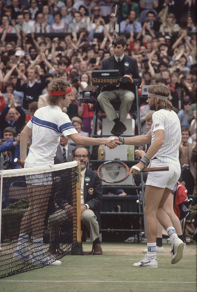 McEnroe shakes hands with Borg after winning the 1981 Wimbledon title.