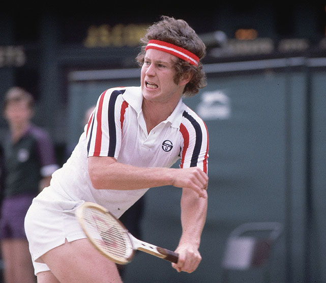 Closeup of McEnroe during the 1980 Wimbledon final.