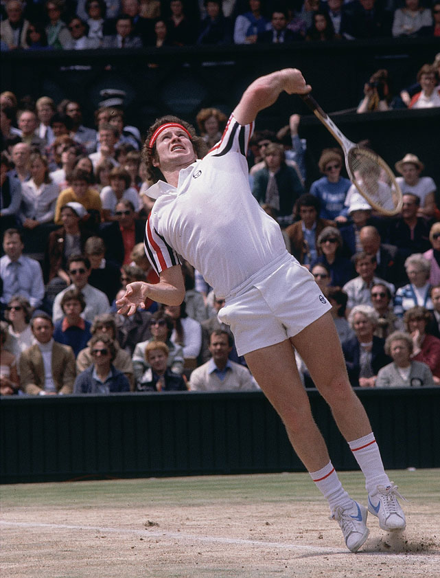 McEnroe serves to Borg during the 1980 Wimbledon final.