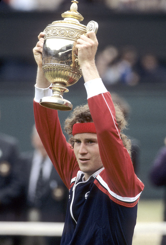 McEnroe celebrates after defeating Borg in the 1981 Wimbledon final.