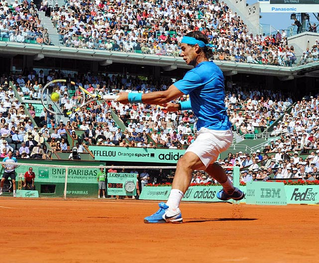 Spain's Rafael Nadal puts all his strength behind a forehand during his June 1 match against Robin Soderling in the French Open quarterfinals. Nadal would go on to win 6-4, 6-1, 7-6 (3) to advance to the semifinals.
