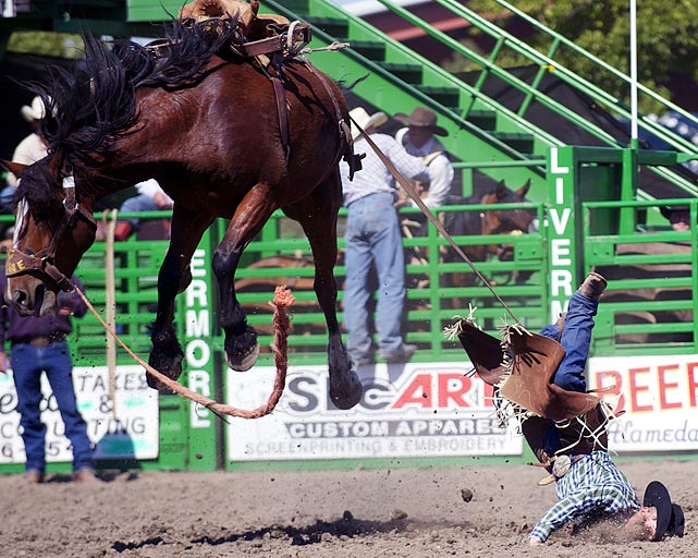 Matt Marvel got a face full of dirt after he tried to tame the beast that is Rock Ridge at the 93rd annual Livermore Rodeo in Livermore, Calif.