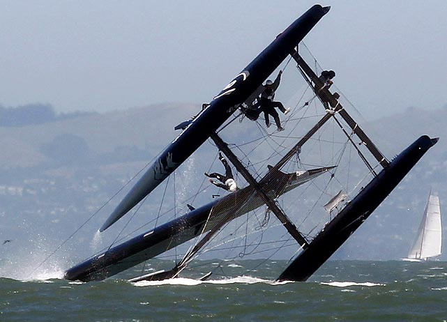 A promotion for the 34th annual America's Cup turned soggy when this Oracle boat capsized during an exhibition race on June 13.