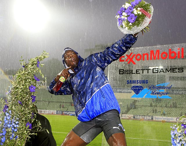 Despite the rain, Jamaica's Usain Bolt strikes his signature pose after winning the 200 in Oslo, Norway on June 9.
