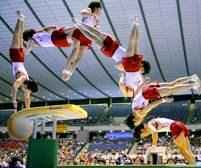 A composite image shows world champion Kohei Uchimura in action on the vault during the NHK Cup in Tokyo on June 12. With the performance, Uchimura captured his third straight NHK Cup title.