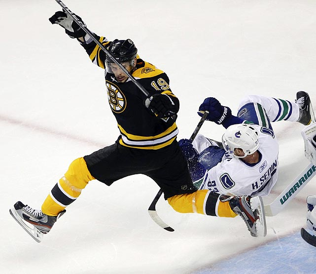 Boston Bruins center Tyler Seguin (left) bounds across during the Bruins' 4-0 victory over the Vancouver Canucks in Game 4 of the Stanley Cup finals on June 8.