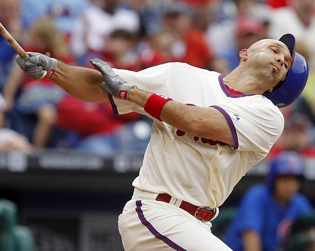 Phillies outfielder Raul Ibanez, 39, looks his age during this swing in the fourth inning of the Phillies' 7-1 win over the Cubs on June 11.