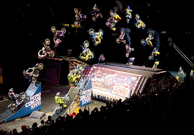 An incredible time-lapse photograph captures Travis Pastrana (left) and Cam Sinclair performing the first ever synchronized FMX double backflip on June 4 in Las Vegas.