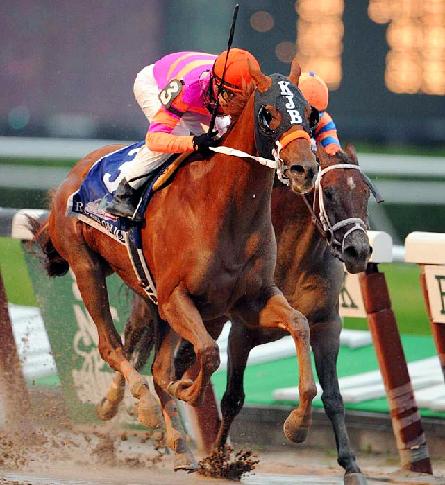 Ruler On Ice, a 24-1 long shot, gallops to a victory in the 143rd Belmont Stakes on June 11.