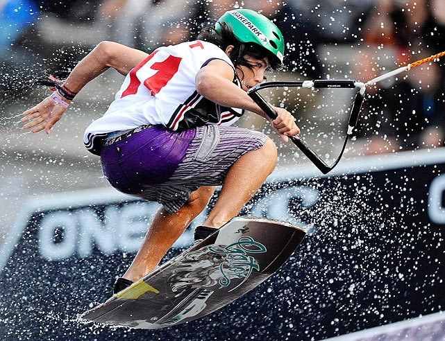 Thailand's Daniel Grant competes in the wakeboarding world championships, one of the biggest wakeboard and wakeskate events in the world, in Cologne, Germany on June 18.