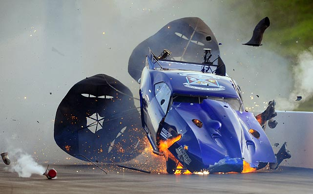 NHRA Pro Mod driver Roger Burgess was thankful for his parachute during this crash at the Thunder Valley Nationals on June 18.