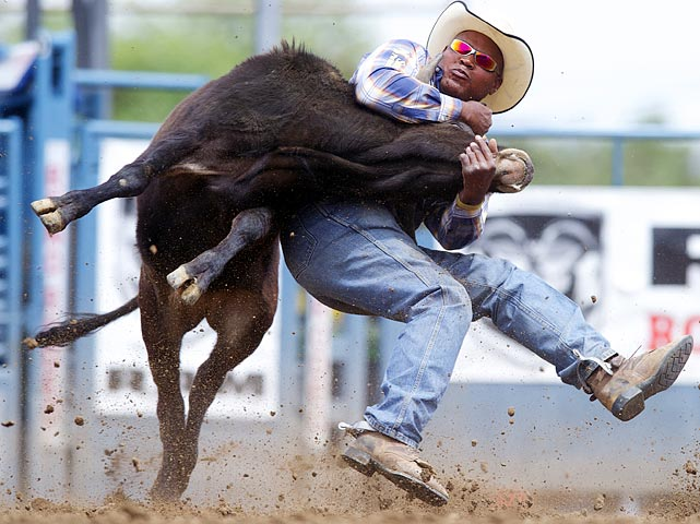 Oklahoman Tommy Cook shows a steer who's boss during the steer wrestling event at the Reno Rodeo on June 18.