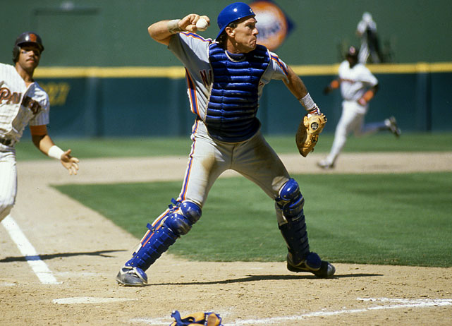 The catcher throws to first during a game against the Padres in his final season with the Mets. Carter hit only .183 in his 50 games that year.