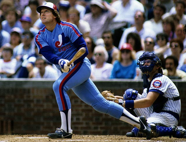 Carter watches the flight of the ball after an at-bat at Wrigley Field. He hit .270 with 17 home runs during the 1983 season.
