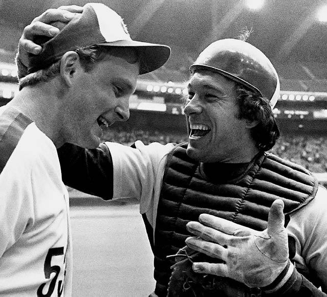 Carter congratulates pitcher Charlie Lea after he threw the third no-hitter in Expos' history in a 4-0 win over San Francisco in the second game of a doubleheader on May 10.