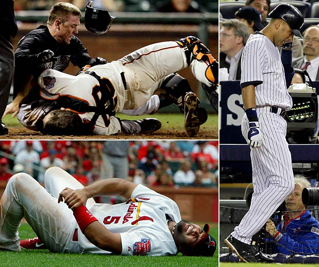 Halfway through the season, baseball fans have already seen some of the game's biggest names go down to injury. Joe Mauer, Evan Longoria and Matt Holliday all missed significant time. Giants catcher Buster Posey is possibly out for the season after a collision at home plate left him with a broken leg. The Cardinals' Albert Pujols is out four to six weeks with a fractured left wrist and the Yankees' Derek Jeter was placed on the disabled list with a strained calf and still sits just six hits shy of the 3,000 career mark.