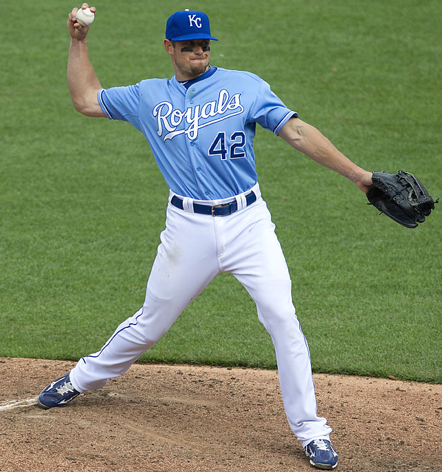 Trailing 13-5 in the ninth, Royals manager Ned Yost put outfielder Mitch Maier on the mound. Maier was the only Kansas City pitcher to not give up a run, getting Asdrubal Cabrera to ground into a double play after giving up a single. This was the 11th time in Royals' history they have used a position player to pitch and it was Maier's second time on the mound. He also threw a scoreless inning July 26, 2011, at Boston.