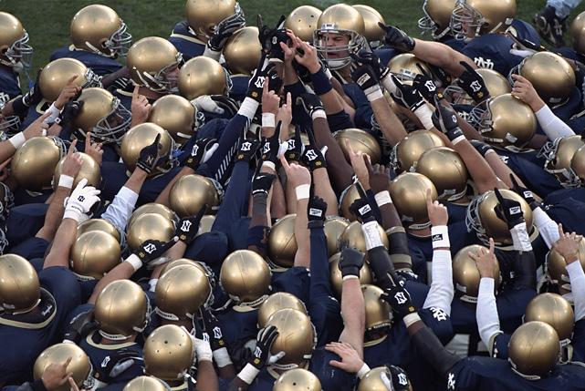 All-time record:  845--295--42   National titles:  11 (1924, 1929, 1930, 1943, 1946, 1947, 1949, 1966, 1973, 1977, 1988)   Heisman Trophy winners:  7 (Angelo Bertelli, 1943; Johnny Lujack, 1947; Leon Hart, 1949; Johnny Lattner, 1953; Paul Hornung, 1956; John Huarte, 1964; Tim Brown, 1987)   Notre Dame Stadium capacity:  80,795   Average recruiting ranking:  11.0