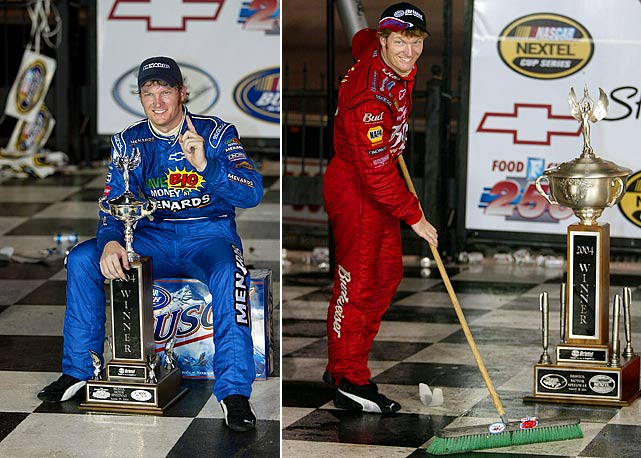 "Only two of Junior's first 12 Cup victories occurred on tracks of less than 1 mile in distance, and he was not considered to be a great short-track racer. But in 2004 he became the first driver in NASCAR history to have a weekend sweep of the Busch/Nationwide and Cup races at the half-mile Bristol Motor Speedway. Following the Cup victory Junior declared, ""This is one of the biggest wins of my career."""
