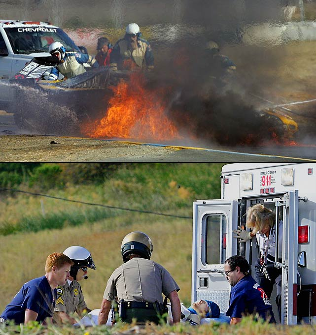 One of Junior's most memorable moments, though obviously not one of his best, occurred during practice for an American Le Mans Series race at Infineon Raceway in Sonoma, Calif. The car became engulfed in flames after Junior spun and hit a retaining wall, rupturing the fuel cell. Junior was flown to a nearby hospital, where he was treated for moderate burns on his face and legs.