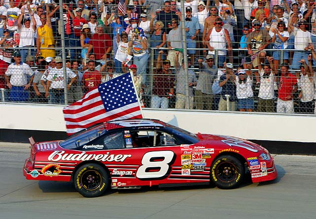 Like most of the sports world, NASCAR postponed its events that were scheduled for the weekend after the Sept. 11 terrorist attacks. When racing resumed the following week at Dover International Speedway, Junior thrilled the crowd with his second victory of the season. He held an American flag out the window of his car while taking a victory lap around the track.