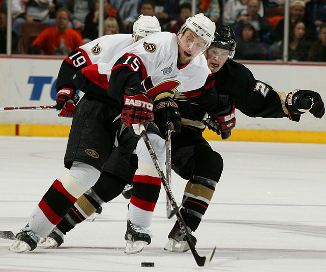 A 50-goal scorer for the second consecutive season, Heatley was stifled by the rugged Ducks in the Cup final and squeezed out one assist in Ottawa's five-game loss. His underwhelming performance presaged his postseason struggles with San Jose, to whom he was traded in 2009.
