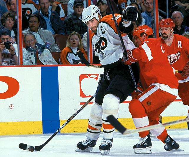 Limited to only 52 regular-season games by a groin injury and other maladies, the Flyers' captain -- who'd won the Hart Trophy in 1995-- still cranked out a healthy 32 goals and 79 points, good for second on the team. In his only Cup final appearance with Philadelphia, he managed a goal and two assists against Conn Smythe-winning goaltender Mike Vernon as the Flyers were steamrolled by Red Wings in four games. But Lindros was hardly the only frustrated Flyer as the team was held to a total of six goals in the series.