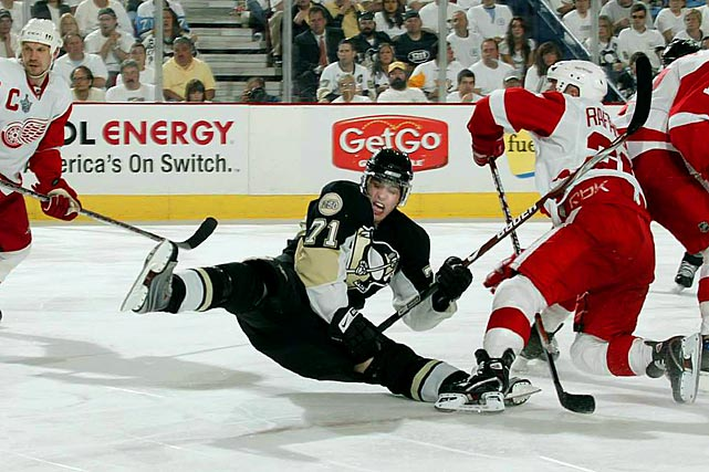 After leading the NHL in scoring with 106 points, the Russian sniper hit a big red wall in the Cup final against Detroit, who limited him to one assist through the first five games. He finally broke through with a helper and a second-period goal in Game 6, but by then the Red Wings were in command, holding the Pens to one shot in the first 17 minutes of the third frame and taking the chalice with a 3-2 win.