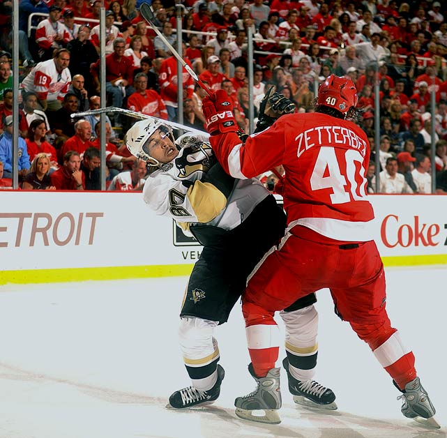 The Penguin captain's second consecutive Stanley Cup Final appearance was a painful, frustrating affair (except for the outcome) as the Red Wings kept the 103-point regular-season scorer off the board in four of the seven games, including limiting him to three shots in the final three contests. Crosby's goal and two assists came in Games 3 and 4 as the Penguins began their comeback to win the Cup, but in Game 7 he was able to play only one shift after injuring his knee when hit hard along the boards by Detroit's Johan Franzen.