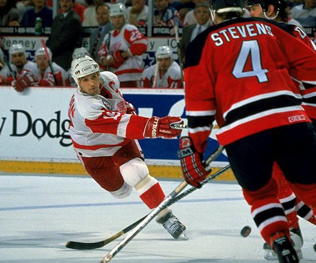 Due to the lockout-shortened season, Detroit's illustrious captain produced a modest 12 goals and 38 points in 47 games, but he was by then recognized as the game's best two-way player. Once the playoffs began, the Red Wings seemed unstoppable, losing only twice in the first three rounds on the way to their first Cup final appearance since 1966. With Detroit itching for its first Cup since 1955, Yzerman (1 goal, 1 assist) and company were stymied in the final by the hot goaltending of Martin Brodeur as the Devils completed a stunning sweep of the Red Wings.