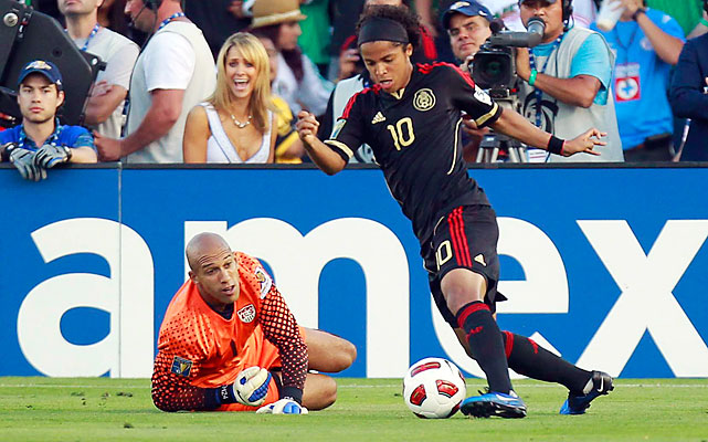 Giovani Dos Santos juked around U.S. keeper Tim Howard and multiple defenders before putting in the strike of the match, a deft chip into a top corner, too high for a U.S. defender to get his head on it. The goal came in the 76th minute, putting Mexico up 4-2.