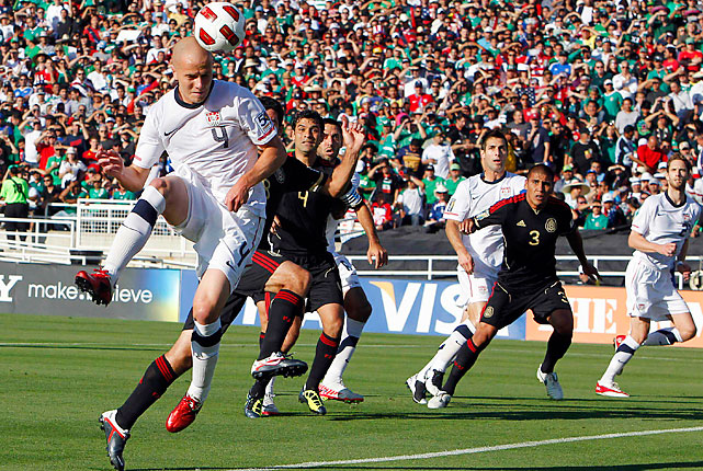 Michael Bradley put the U.S. on the board with a glancing header in the eighth minute off a Freddy Adu corner kick.