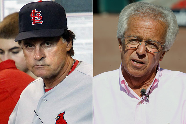 """Notorious homer Reds announcer Marty Brennaman had some harsh words for the Cardinals after the rival teams played in May. Brennaman called St. Louis pitcher Chris Carpenter a """"whiner and excuse-maker."""" Brennaman also referred to Cardinal pitching coach Dave Duncan as """"infantile"""" and finished by calling the Cardinals the """"whiniest team in baseball."""" St. Louis manager Tony La Russa, not one to back down from a fight, responded quickly, saying, """" [Brennaman] earned the right to get into the Hall of Fame and now he ought to keep earning that respect rather than abusing it."""""""