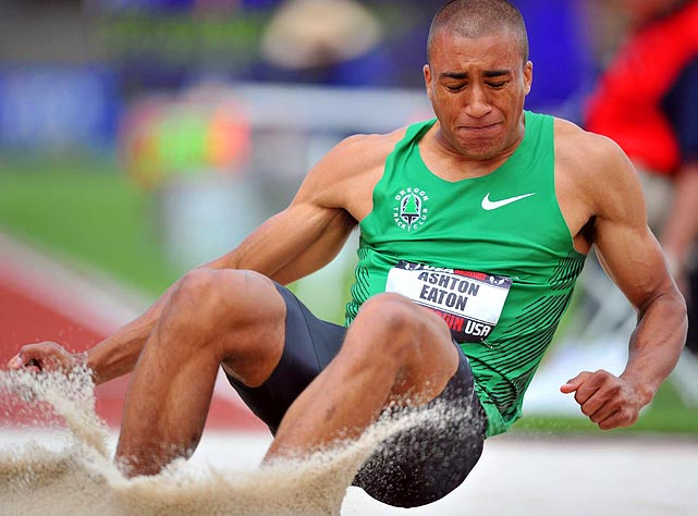 Oregon native Ashton Eaton leads the decathlon after the first day with a 408 point lead against Olympic gold medalist Bryan Clay. He went on to win with 8,729 points, a personal best and world-leading total for 2011.