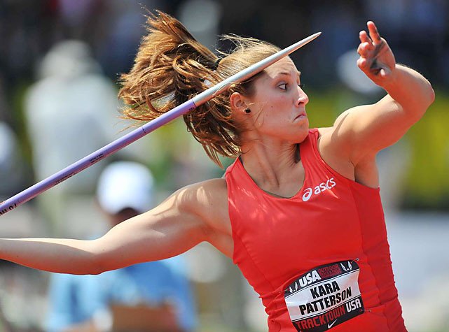 Kara Patterson, the American record holder, set the winning mark of 194-8 on the very first throw of the javelin competition. It was never threatened as Patterson won her fourth national title.