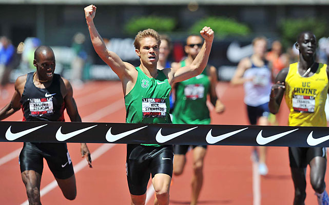 Nick Symmonds, of the Oregon Track Club, has long been a favorite at the Hayward Field track. Symmonds passed Khadevis Robinson, 34, on the final straightaway to win the 800 in 44.17 and claim his fourth straight national title.