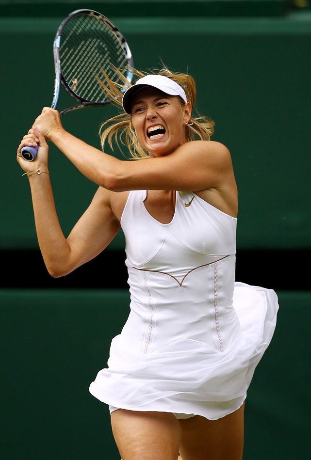 Maria Sharapova of Russia returns to Germany's Sabine Lisicki during Thursday's second women's semifinal.