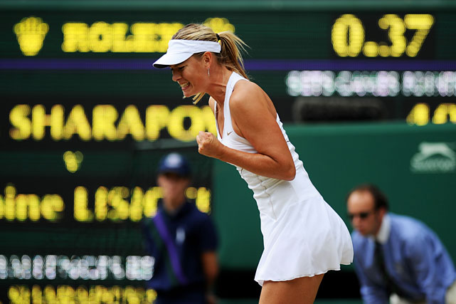 Maria Sharapova reacts during Thursday's semifinal match.