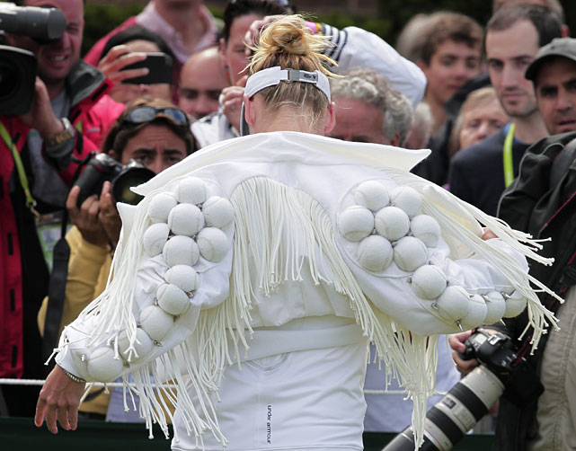 Bethanie Mattek-Sands shows off her distinctive jacket prior to Wednesday's second-round match with Japan's Misaki Doi.