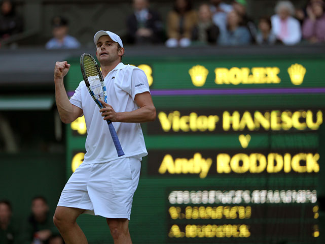 Andy Roddick celebrates his victory over Romania's Victor Hanescu.