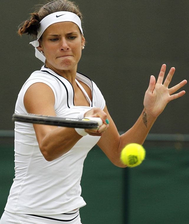 Germany's Julia Goerges returns a shot to Slovakia's Dominika Cibulkova during their third-round match.