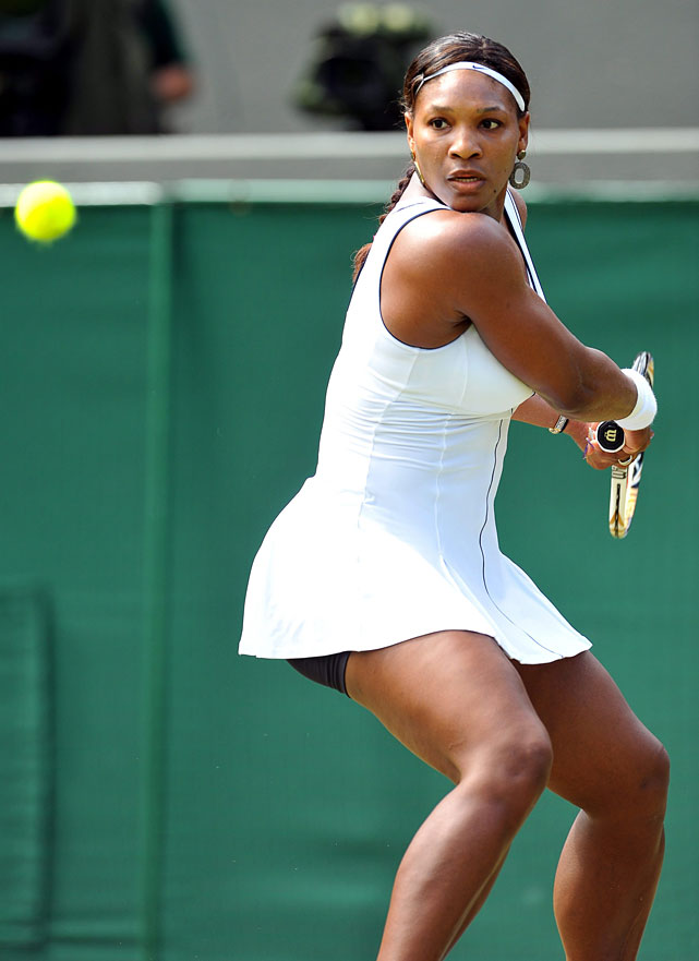 Serena Williams of the U.S. returns to Maria Kirilenko of Russia during their third-round match.