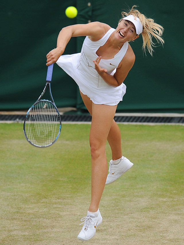 Maria Sharapova rifles a serve during her straight-set win over Klara Zakopalova of the Czech Republic .