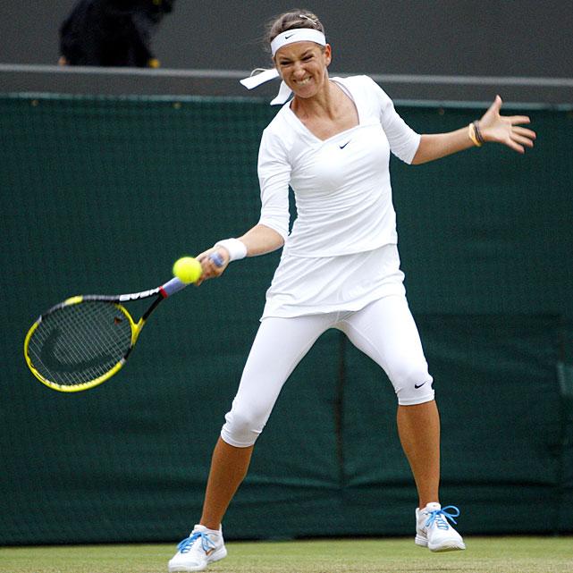 Victoria Azarenka in action during her quarterfinal match against Austria's Tamira Paszek.