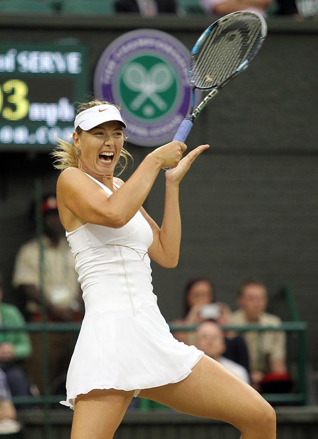 Maria Sharapova plays a return during her quarterfinal match with Slovakia's Dominika Cibulkova.