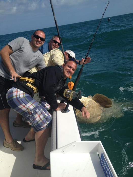 While vacationing in Key West, Mike Trout and family went on a fishing expedition and caught a 550-pound grouper. Trout's girlfriend, Jessica Tara Cox, tweeted this photo of the catch.