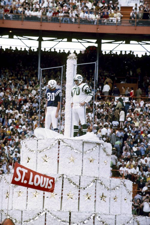 This was part of the pregame festivities for Super Bowl III, which the New York Jets won, 16-7, over the Baltimore Colts in 1969.