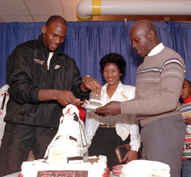 Michael Jordan and his father, James, and mother, Deloris, celebrated the NBA great's 26th birthday in Chicago.