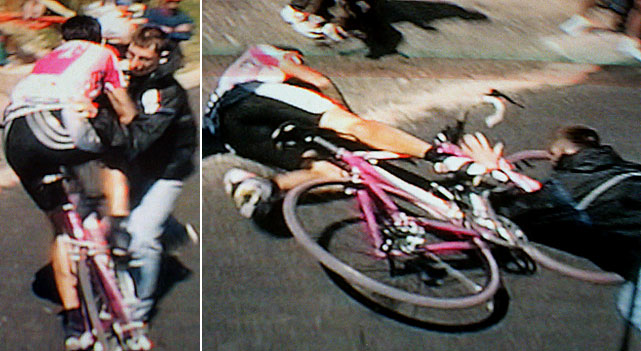 Giuseppe Guerini was about to take Stage 10 of the 1999 Tour de France when a spectator stood in the road to take a photo of the would-be stage winner. Guerini struck the spectator and fell to the asphalt before mounting his bike to finish the final meters. Lance Armstrong would go on to win his first Tour that year.
