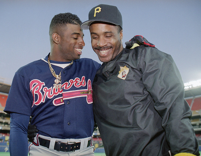 Two of the most controversial athletes in recent history, Sanders (shown here with the Atlanta Braves) and Barry Bonds (with the Pittsburgh Pirates) are shown chatting before the 1992 NLCS.